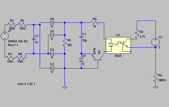 Ltspice model of ac mains zero crossing detector roger clark